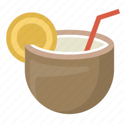 coconut, drink, hawaii, island, relaxation, tiki, vacation icon