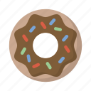 chocolate, donut, food, snack, sprinkles, treat icon