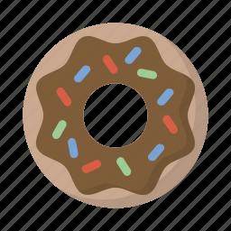 chocolate, donut, food, snack, sprinkles, treat icon