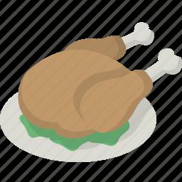 chicken, dinner, platter, thanksgiving, tray, turkey icon