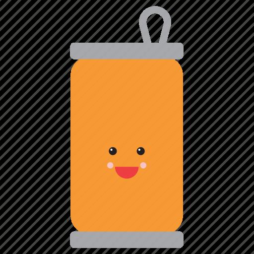 emoji, emoticon, face, orange, smiley, soda, soft drink icon