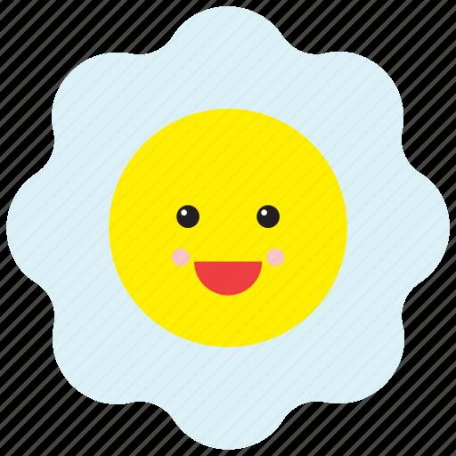 emoji, emoticon, face, food, fried egg, happy, smiley icon