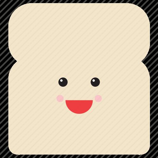 bread, emoji, emoticon, face, food, slice, smiley icon