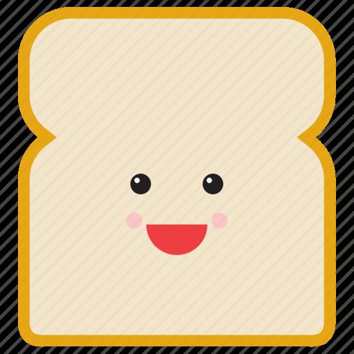 bread, emoji, emoticon, food, happy, slice, smiley icon