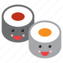 emoji, emoticon, food, happy, maki, smiley, sushi icon