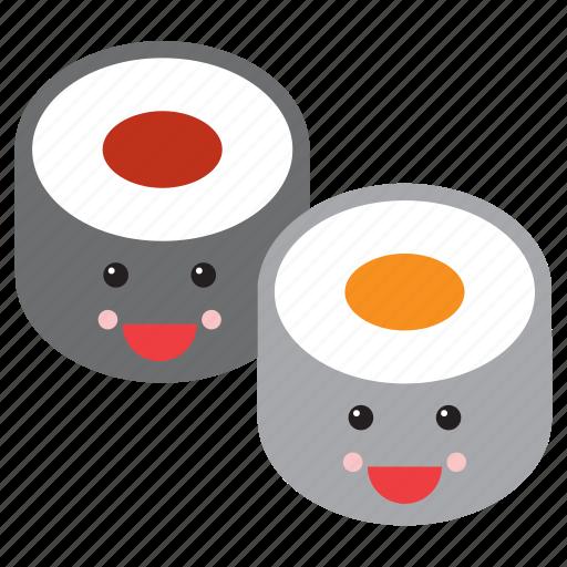 emoji, emoticon, food, happy, maki, smiley, sushi icon