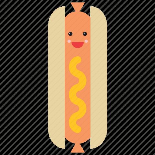 emoji, emoticon, face, food, happy, hot dog, smiley icon