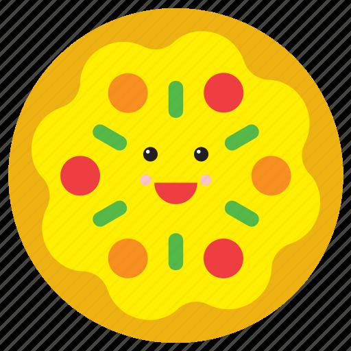 emoji, emoticon, face, food, happy, pizza, smiley icon