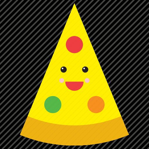 emoji, emoticon, face, food, pizza, slice, smiley icon