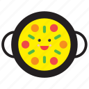 emoji, emoticon, food, happy, paella, rice, smiley icon