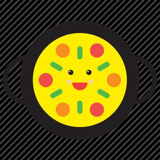 emoji, emoticon, food, happy, paella, rice, smiley icon