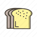 bread, breakfast, slice icon