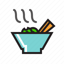 bowl, chopsticks, food, noodle, noodles, spaghetti, vermicelli icon