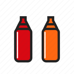 bottle, chili, food, red, sauce, tomato icon icon
