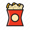 cinema, film, food, movie, popcorn, popcorn icon, snack icon