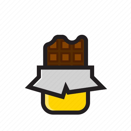 bar, black chocolate, candy, chocolate icon, food icon