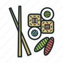 eat, food, rolls, seafood, sushi icon
