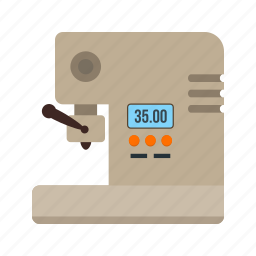 cafe, cappuccino, coffee, kitchen, machine, metal, shop icon