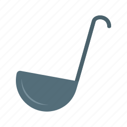 food, kitchen, ladle, metal, steel, utensil, white icon