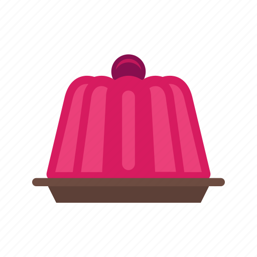 candy, color, food, jelly, pudding, red, strawberry icon