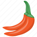 chili pepper, hot chili, red chili, spice, vegetable icon