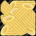 italian pasta, italian penne, noodles, penne pasta, penne rigate pasta, spaghetti icon