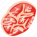 meat loaf, pork slice, raw food, raw meat, red meat icon