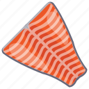 fish for cooking, fish pieces, half cutted fish, raw fish, seafood icon