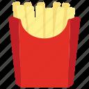 french fries, fries, fries box, potato fries, snack box icon