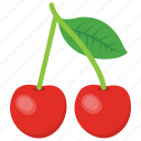 cherry, fruit, healthy fruit, red berries, stone fruit icon