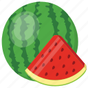 half of watermelon, juicy fruit, refreshing fruit, summer fruit, watermelon slice icon