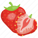 healthy food, porous fruit, red berries, sliced strawberry, strawberry icon