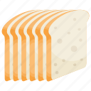 bread slices, breakfast, sandwich bread, toast, white bread icon