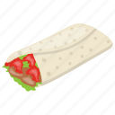 burrito, pita sandwich, snack food, tortilla rolls, tortilla wrap icon
