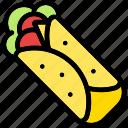 burrito, meal, roll, snack, tortilla, wrap, food