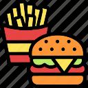 fast-food, burger, fries, snack, chip, restaurant