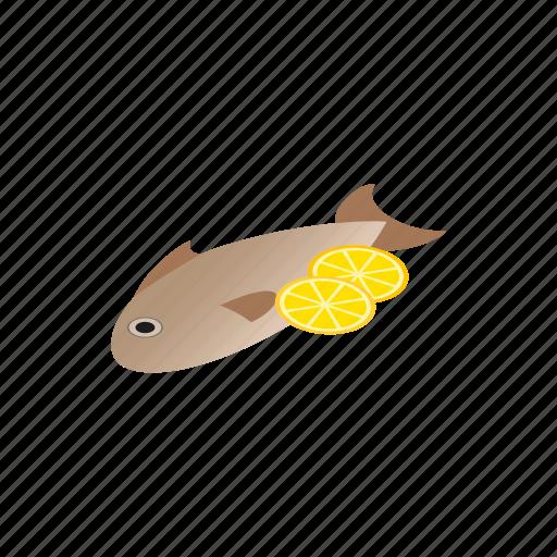 cartoon, design, element, fish, isolated, isometric, lemon icon