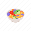 cartoon, design, element, fruit, isolated, isometric, salad icon