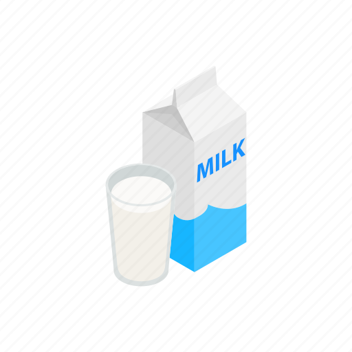 box, cartoon, design, element, isolated, isometric, milk icon