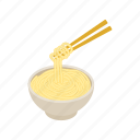 bowl, cartoon, chinese, chopstick, isolated, isometric, noodle icon