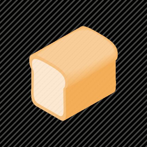 bake, bread, cartoon, design, element, isolated, isometric icon