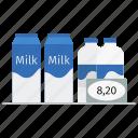 cow milk, food, market, milk, milk bottle, milk package, price, shop icon