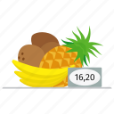 banana, coconut, food, fresh, fruit, market, pineapple, price, shop icon