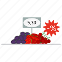 berries, berry, blueberry, cherry, food, fresh, market, price, shop, strawberry icon