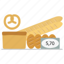 bakehouse, bakery, bakeshop, bread, bun, loaf, pretzel, price, supermarket, wheat icon