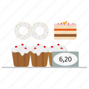 cakes, cupcakes, donut, fairy cake, muffins, price, sugar, sweets icon