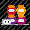 dessert, honey, jam, jars, marmalade, multicolored, price icon