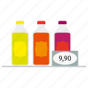 bottles, cola, drink, price, shop, soda icon