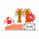 crab, crawfish, market, octopus, sale, seafood, shop, squid icon
