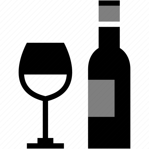 alcohol, alcoholic, bottle, glass, meal, wine icon